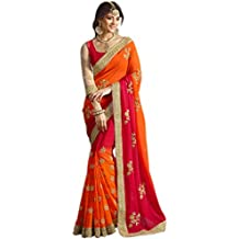 Try n Gets Orange and Red Color Georgette Fancy Designer Saree