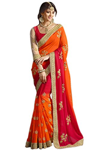Try n Get's Orange and Red Color Georgette Fancy Designer Saree (Indische Kostüm Für Fancy Dress)