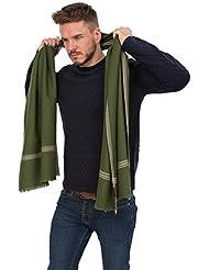 Grande écharpe 'Soho' tissée à la main en laine mérinos, Vert