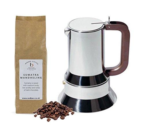 Alessi Espresso-Kaffeemaschine für 6 Tassen aus Edelstahl 18/10, hochglanzpoliert, mit magnetischem, wärmeableitendem…