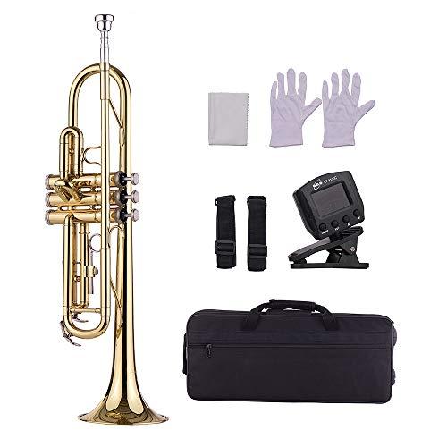 Festnight ottone tromba in sib, standard piatto trump strumenti a fiato con bocchino borsa guanti pezza di pulizia sintonizzatore