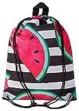 Aminata Kids - Kinder-Turnbeutel für Mädchen und Damen mit Obst Smiley Food-s Wasser-Melone-n Melone Sport-Tasche-n Gym-Bag Sport-Beutel-Tasche schwarz Weiss-e Streifen