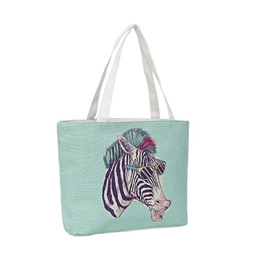 Strandtasche 46 x 32 x 10 cm Motiv Funky Zebra mintfarben-Jute Shopper Schultertasche Vintage Stil -