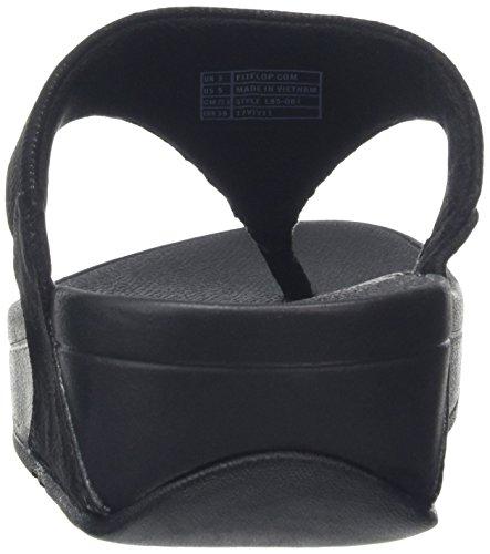 FitFlop Damen Lulu Toe-Thong Sandals-Shimmer-Check Peeptoe Schwarz (Schwarz)