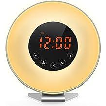 [Aufgerüstet] Versatek® Wake Up Licht, Lichtwecker Wecker, Neueste Mode Wake-up-Licht Sonnenaufgang Simulation mit Natur Sounds, Dämmerung Fading Nachtlicht, FM Radio, Touch Control und USB Ladegerät