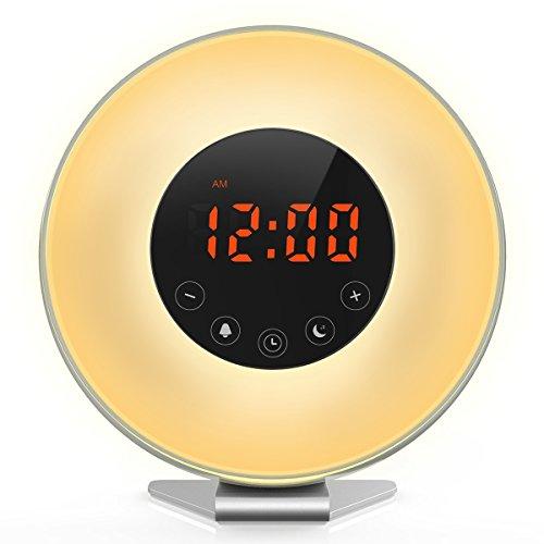 [Upgraded] Lumière de réveil, Diyife® Réveil lumineux, dernière simulation de levée de soleil avec sons de la nature, lumière de nuit crépusculaire, radio FM, commande tactile et chargeur USB