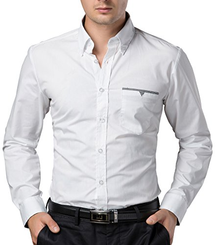 Fashion Smart Shirts Long Sleeve Business Pocket White (L) CL5249-2