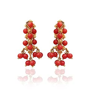 Lagu Bandhu 22k (916) Yellow Gold and Coral Drop Earrings