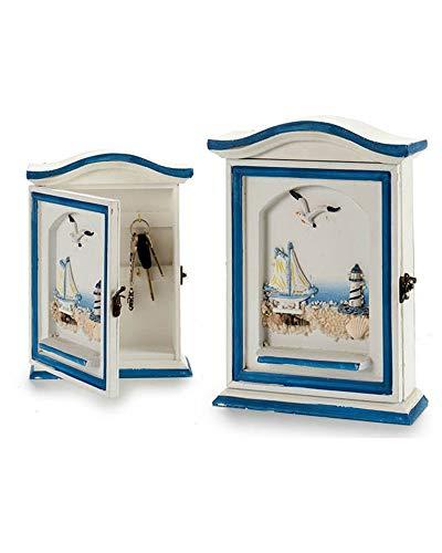 lbox 1 Tür Marino aus Holz Wand Schlüsselanhänger 6,5x19x25cm 4 Haken zum Aufhängen Key Box Design Shabby Chic ARREDO Haus Haus ()