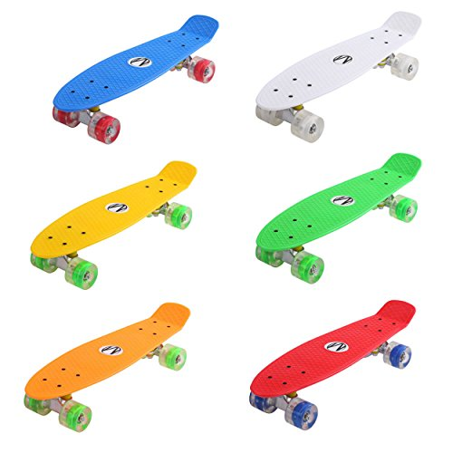 57cm Mini Cruiser board Retro Skateboard mit LED Leuchtrollen und Aluminium Trucks ABEC-7 Classics -