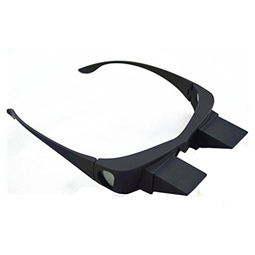 UUOUU Horizontal Lazy Glasses High Definition Glasses Periscope Lie Down Watch Read TV Down Periscope Glasses Size L (Black)