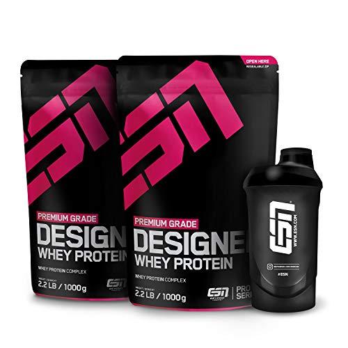 ESN Designer Whey Protein Natural, Proteinpulver ohne Geschmack + Gratis Shaker, Eiweißpulver, reich an essentiellen Aminosäuren, 2 x 1 kg Beutel -