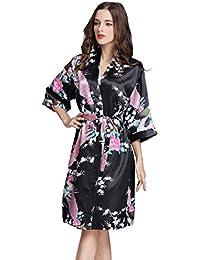 Pijama Lencería Kimono Corto de Satén Camisón Sexy Pijama Vestido de Estampado Floral para Mujer
