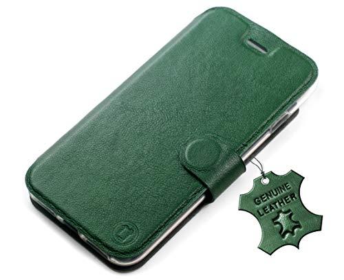 MOBIWEAR Echt Leder Leather Book Style Handy Motiv Tasche Flip Case Cover Hülle für Asus Zenfone Max M2 ZB633KL - Green Leather