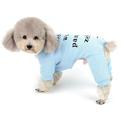 SELMAI Hunde-Pyjama mit Fleece-Futter, Vierbein-Hose, Rollkragenpullover, PJS, Baumwolle, weich, warm, für Mädchen und Jungen, kleine Haustiere, Katzen, Chihuahua, Winter-Sweatshirt