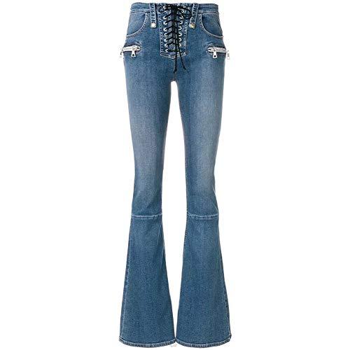 Jeans mit hoher Taille für Damen Slim Fit Schlanke Schlaghose Retro Reißverschluss Gewaschen Zugangskontrollseil Damenhosen Mode Straße Lange Jeans,Blue,25 -