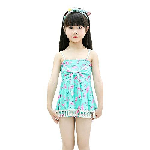KINLOU Mädchen Einteiliger Badeanzug - Netter Muster Sling Atmungsaktiv Sommer Strand Sport Feiertags Badeanzug Schwimmen Kostüm, Grün, EU 2XS=Tag ()