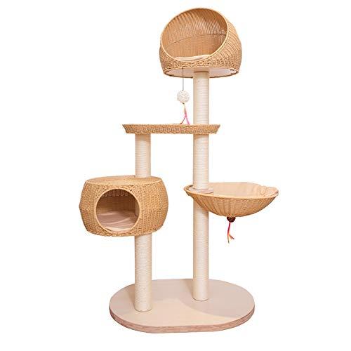 JU FU Kratzbaum Sommer- und Winterluxusmehrschichtkatzenbaumrattan-Katzenspielzeugkatze springendes Plattform Sisal-Katzennest @@