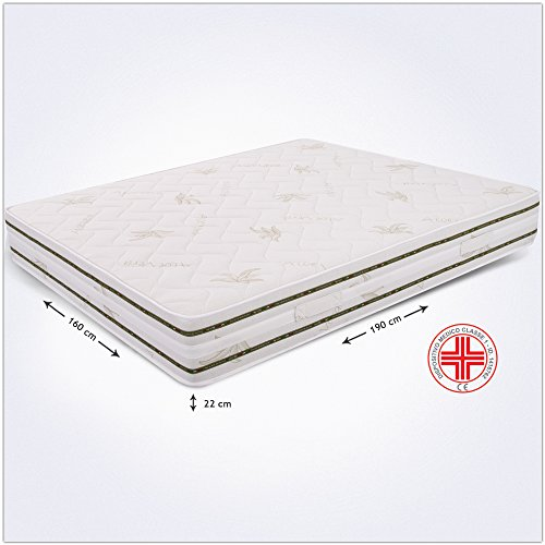 Miasuite - Materasso Matrimoniale in Memory Foam 160x190 alto 22 Cm con Dispositivo Medico ortopedico e rivestimento Aloe Vera anallergico ed antiacaro ideale per letto matrimoniale, materasso memory matrimoniale con lastra in memory foam da 4 cm e lastra in waterfoam da 17 Cm, Materasso Top 22