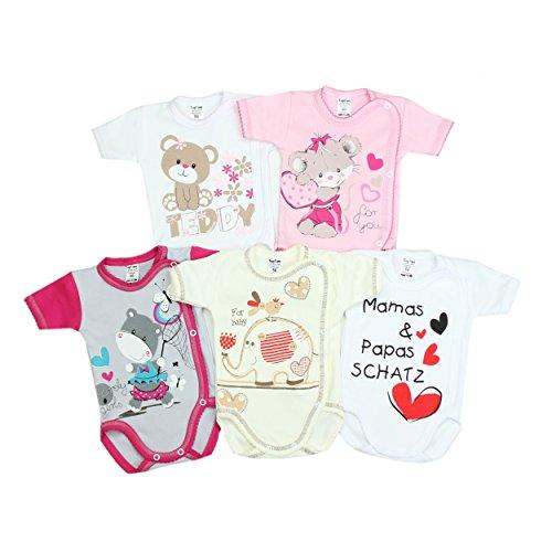 TupTam Unisex Baby Kurzarm Wickelbody mit Spruch 5er Pack, Farbe: Mädchen, Größe: 56