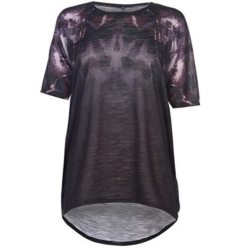 Burgund Grafik (Firetrap Damen Lucy T Shirt Top Rundhals Kurzarm Grafik Burgund/Schwarz Schmetterling XL)