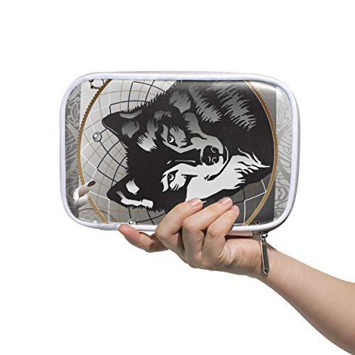 CPYang - Estuche para lápices con cierre de mandala, diseño de lobo atrapasueños