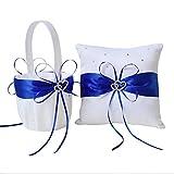 Amajoy Set da matrimonio in due pezzi, in raso bianco e blu reale, cestino per fiori da bambina e cuscino porta anelli con doppio cuore e decorazioni in strass