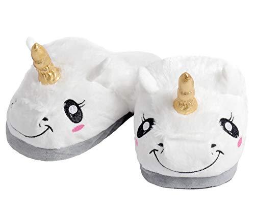 Alsino Einhorn Pantoffeln Damen Kinder Schlappen Warme Flauschige Kuschel Hausschuhe Antirutsch Sohle Pantoffel Unicorn Kuschelhausschuhe Geschenkidee (38/39)