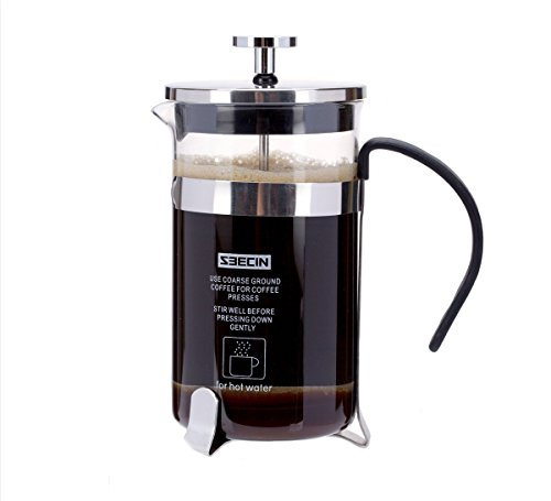 PowerLead Coffee Maker French press Cafetiere – 0.35 L(Silver)