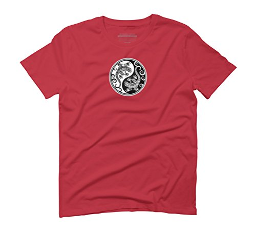 Black and White Yin Yang Geckos Men's Graphic T-Shirt - Design By Humans Red
