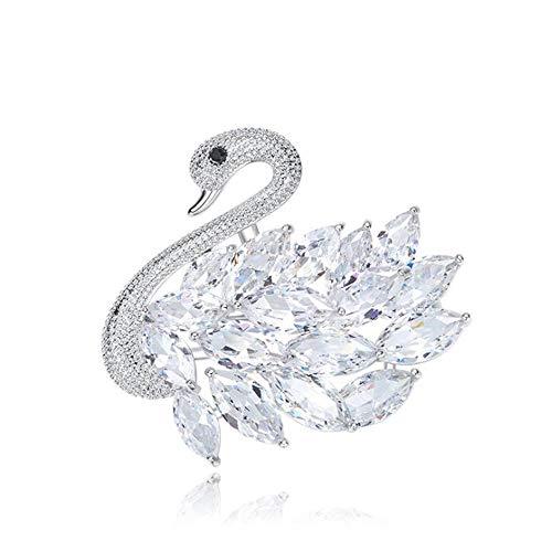 Zolkamery Schwan Brosche für Damen Silber 18K Weißgold Vergoldet Brosche mit Weiß AAA Zirkonia Schmuck für Hochzeit Verlobung Party Mutter & Frau