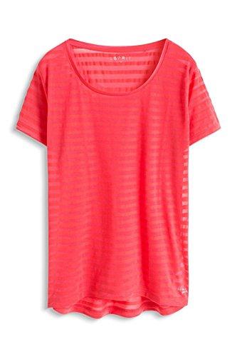 ESPRIT Damen Casual Sports Streifen T-Shirt Aus Materialmix Rot (CORAL RED 640)