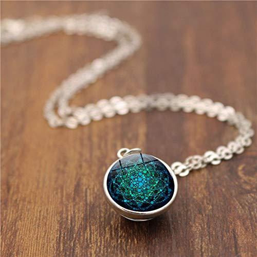 BUYAO Blume des Lebens doppelseitige Glaskugel Anhänger Halskette weibliche Glas Runde Halskette, B -