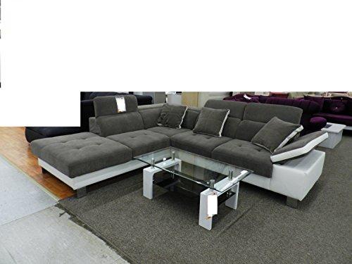 Royal moebel pezzo da esposizione eck divano angolare divano angolare couch garnitur dezenter grigio chiaro nero