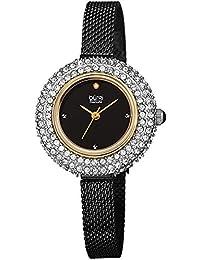 Burgi Swarovski Crystal Diamond Accented Watch - Sparkling Swarovski Crystals on Stainless Steel Slim Mesh Bracelet - Mothers Day Gift - BUR236BKG Black/Gold)