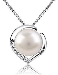 B.Catcher Silver Necklace Pearl Jewellery 925 Freshwater Pearl Heart Pendant Nekclaces