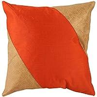 Decorativi arancione singole Federe attraenti 16x16 Paisley Patchwork Cushoin copertura d'avanguardia Brocade cuscino Shams By Rajrang
