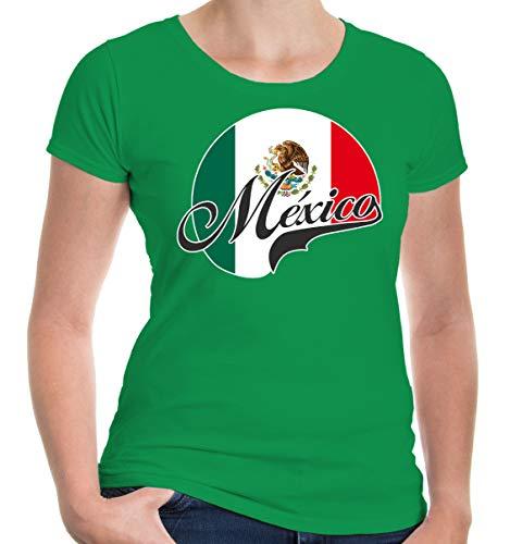 buXsbaum Damen Girlie T-Shirt Mexiko Logo   México Mexique Messico Amerika Ländershirt Fanshirt Trikot Reise   XXL, Grün