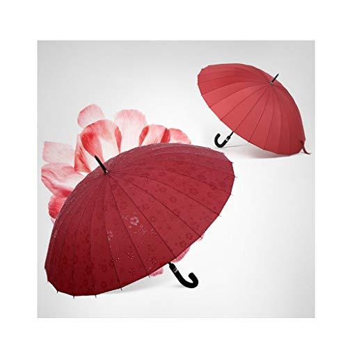 SYXYSM 24 Regenschirme mit langem Griff, große Regenschirme mit doppeltem Verwendungszweck, Starke Wetterschirme, Wasserblütenschirme, optional mit Mehreren Farben Regenschirm (Color : Red)