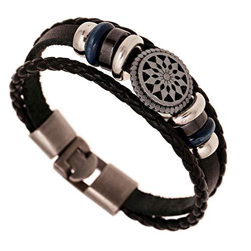 AIUIN Schmuck Herren Lederarmband Anchors Und X Unendliche Energie Edelstahl Armbänder Herrenarmband Für Männer Herrenarmreif Armreif Armkette Legierung (Sonnengott)