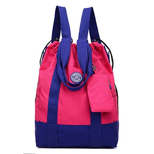 Outreo Rucksäcke Lässige Schultaschen Rucksack Damen Wasserdicht Schulrucksack Leichter Tasche Schul Daypack Kordelzug Reisetasche Backpack für Sport Rot