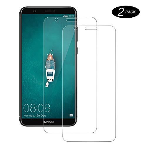 CNXUS Panzerglasfolie Kompatibel mit Huawei P smart 2018, Huawei P smart 2018 Panzerglas [2 Stück][Bubble Free] [Anti-Öl][Kratzschutz] Einfache Installation HD Klar Bildschirmschutzfolie