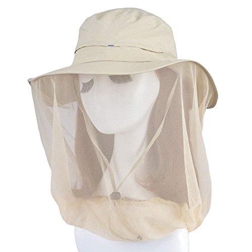 oumeiou New Fashion Outdoor Mosquito Maske Hat mit Kopf Net Mesh Face Schutz Sun Hat Beige beige Einheitsgröße