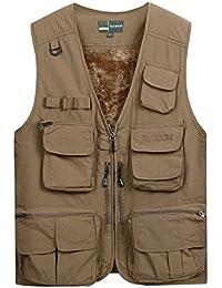 7c6a4905ded9 Männer Outdoor-Angeln Weste, mittleren Alters und ältere dicke  Multi-Pocket-Weste, Jacke warme Weste (Farbe   Earth…