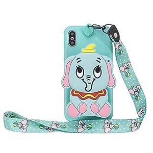 Miagon Silikon Hülle für OnePlus 7,3D Süß Brieftasche Lager Tasche Design mit Halskette Kordel Schnur Handykette Necklace Band,Blau Elefant