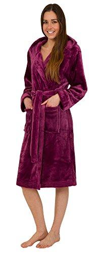 Florentina morbida vestaglia da donna in pile con cappuccio - fucsia (l)