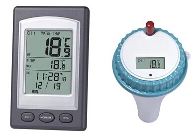 Professional Kabelloser Digital-Pool SPA Schwimmendes Thermometer, Digital, LCD, WD1228, Weiß