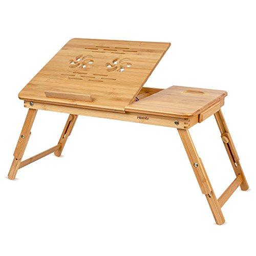 Tisch-teppich (HOMFA Bambus Laptoptisch Betttisch Notebooktisch Notebook Lese Tisch Knietisch Höhenverstellbar mit Kühler 55*35*(22-30)cm)