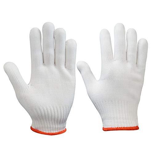 Fliyeong Schnittfeste Handschuhe Sicherheitsschneidende Handschuhe für Küche/Metallarbeiten/Holzschnitzerei Weiß und Rot