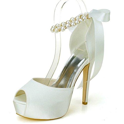 Elobaby scarpe da sposa donna satin heels perle con cinghie peep peep toe / 35-42 size / 11cm heel/dress, ivory, 38